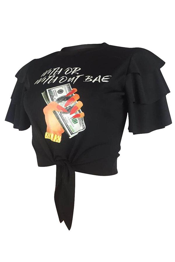 Lovely Euramerican Flounce Printed Black T-shirt