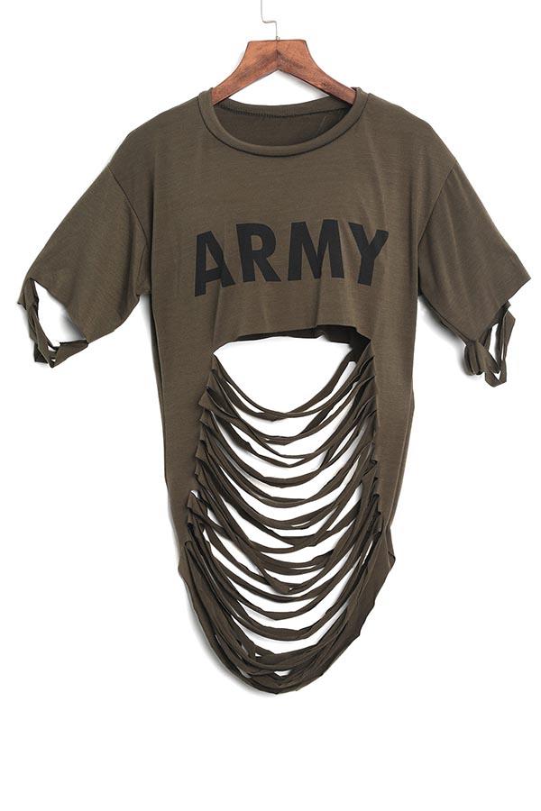 Lovelysexy Estampado Ahueca-hacia Fuera Del Ejército Verde Algodón Combina Camisas