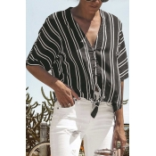 Lovely Casual V Neck Striped Printed Black Blendin