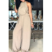 LovelyCasual Round Neck Drawstring Apricot Blending One-piece Jumpsuits