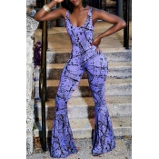 LovelyStreet U Neck Printing Blue Spandex One-piece Jumpsuits