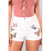 Lovely Casual High Waist Butterfly White Denim Zip