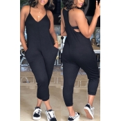 LovelyFashion V Neck Pocket Design Black One-piece Jumpsuits