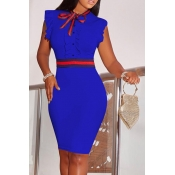 Lovely Fashion Round Neck Ruffle Design Dark Blue Blending Sheath Knee Length Dress
