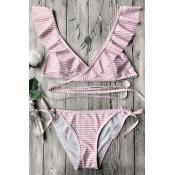 Lovely Pretty Flounce Striped Two-piece Swimwears