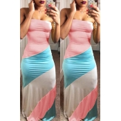 LovelyFashion Bateau Neck Patchwork Pink Polyester Floor Length Dress