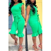 LovelyPretty Round Neck Flounce Green One-piece Romper