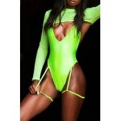Lovely Fashion V Neck Green One-piece Swimwears(Ki