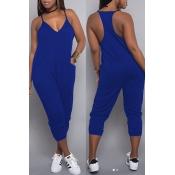 Lovely Euramerican Dew Shoulder Pocket Design Blue One-piece Jumpsuit