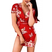 Lovely Sexy Printed Red Twilled Satin Mini Dress