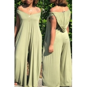Lovely Casual Hooded Collar Light Green One-piece Jumpsuits