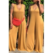 Lovely Casual Hooded Collar Yellow One-piece Jumpsuits
