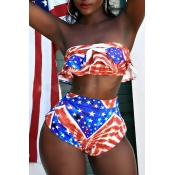 Lovely Euramerican Printed Red+Blue Two-piece Swim
