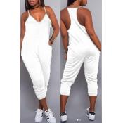LovelyEuramerican Dew Shoulder White One-piece Jumpsuits