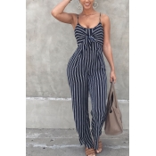 LovelyEuramerican Striped Royalblue One-piece Jumpsuit