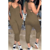 LovelyEuramerican Dew Shoulder Khaki One-piece Jum