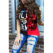 Lovely Casual Round Neck Letters Printed Red T-shirt