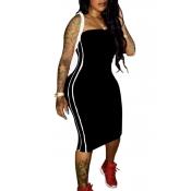 Lovely Euramerican Dew Shoulder Striped Black Mid Calf Sheath Dress