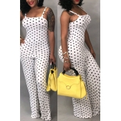 LovelyFashion Polka Dot  Printed White One-piece Jumpsuits