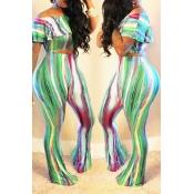 LovelyEuramerican Dew Shoulder Printed Green Two-piece Pants Set