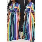 LovelyEuramerican Striped Blue Floor Length Dress