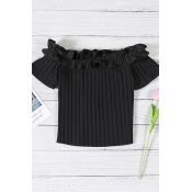 Lovely Contracted Style Dew Shoulder Black T-shirt