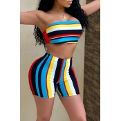 LovelySexy Dew Shoulder Striped Blue Two-piece Sho