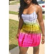 LovelyCasual U Neck Printing Rose Red Sheath Mini Dress