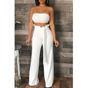 Lovely Casual Dew Shoulder Falbala Design White Two-piece Pants Set