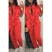 LovelyTrendy  Button Design  Red One-piece Jumpsuit