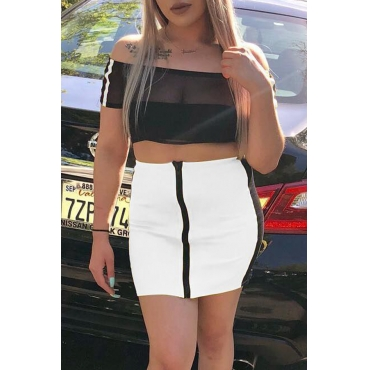 Lovely Fashion Bateau Neck See-Through White Polyester Two-piece Skirt Set