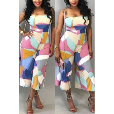 Lovely Casual Dew Shoulder Geometric Printed Qmilch One-piece Jumpsuits
