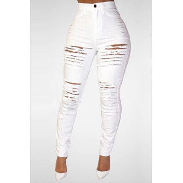Lovely Trendy High Waist Broken Holes White Denim Skinny Jeans
