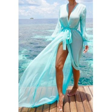 Lovely Blue Chiffon Solid Cover-up