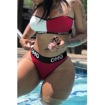 Lovely Letter Printed Patchwork White Knitting Two-piece Swimwears