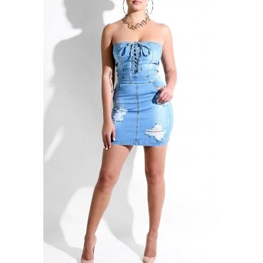 Lovely Street Dew Shoulder Lace-up Baby Blue Denim Mini Dress