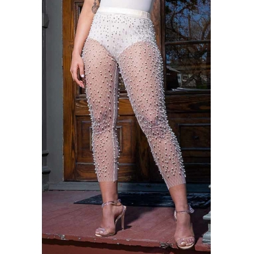 Lovely Sexy High Waist See-Through Pearl White Mesh Pants(Without Subcoating)