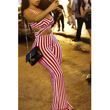 Lovely Casual V Neck Striped Red Twilled Satin One-piece Jumpsuits