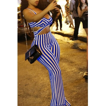 Lovely Casual V Neck Striped Blue Twilled Satin One-piece Jumpsuit
