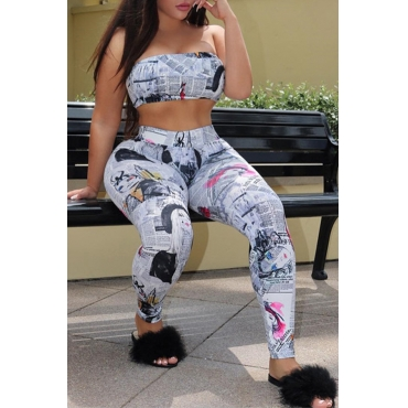 Lovely Fashion Bateau Neck Non Positioning Printing Two-piece Pants Set