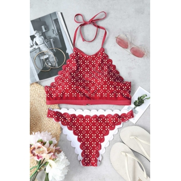 Lovely Fashion Non Positioning Printing Purplish Red Polyester+Spandex Two-piece Swimwears