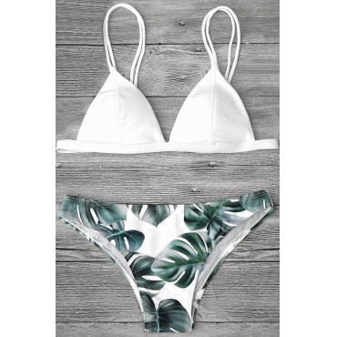 Lovely Chic Leaf Printed White Two-piece Swimwears