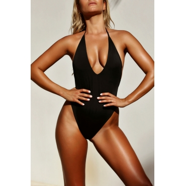 LovelyTrendy V Neck Black Polyester One-piece Swimwears