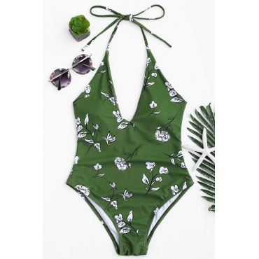 Lovely Pretty Floral Printed Green One-piece Swimwears