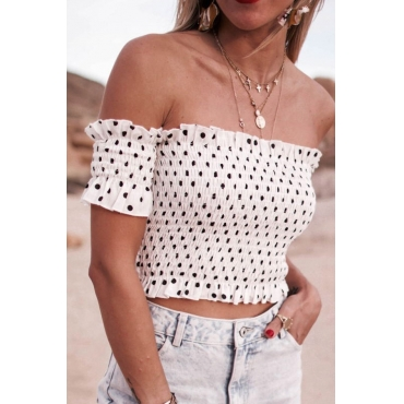 Lovely Bohemian Bateau Neck Dot Printed Fold White Shirts