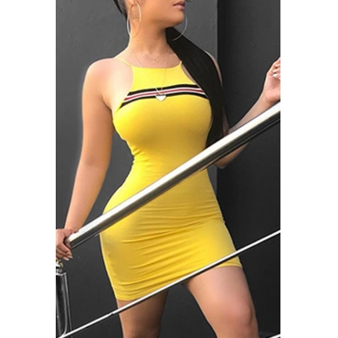 LovelyFashion Round Neck Striped Yellow Blending Sheath Mini Dress