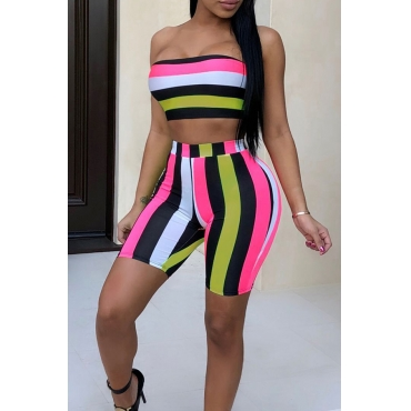 LovelyFashion Bateau Neck Non Positioning Striped Printed Two-piece Shorts Set