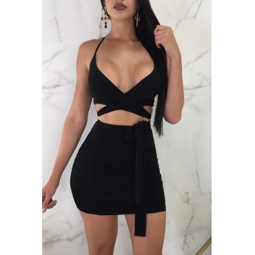 Lovely Sexy Hollow-out Black Two-piece Skirt Set