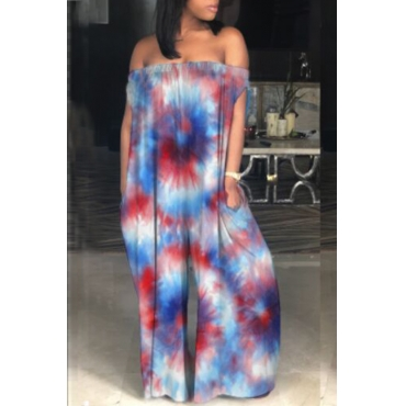 Lovely Casual Dew Shoulder Rainbow Printed Purple One-piece Jumpsuits