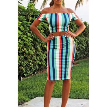 Lovely Charismatic Dew Shoulder Striped Two-piece Skirt Set